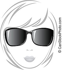 The girl in black glasses - black and white portrait of a...