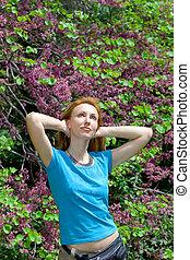 The girl in city park. Varna. Bulgaria