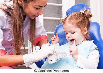 The girl in dental office