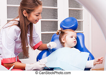 The girl in dental office