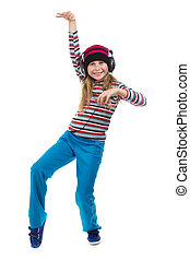 The girl in headphones dancing to the music.