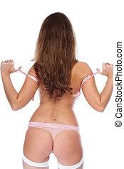 The girl in pink bra - The beautiful girl taking off bra