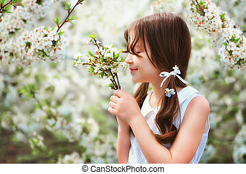 The girl in the flowering trees