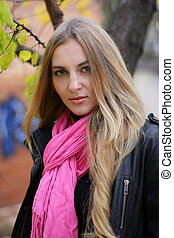 The girl in the pink scarf
