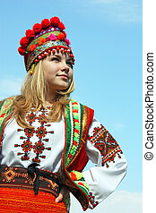 The girl in the Ukrainian national costume