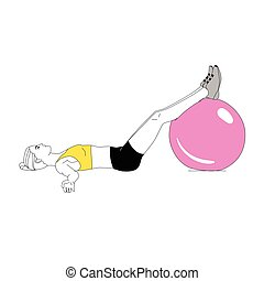 The girl is doing sports exercises with fitness ball isolated on white background. Vector illustration.