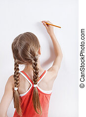 The girl is drawing