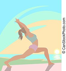 The girl is engaged in yoga on the beach.