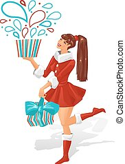 The girl is holding a gift. Vector illustration