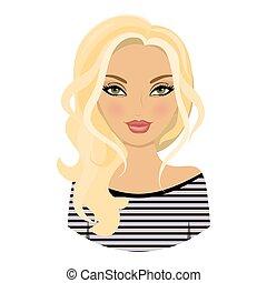 The girl is lovely. Avatar. Blonde hair. Cartoon. Icon.