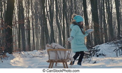 the girl is pulling the sleigh