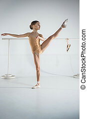 The girl is training near the ballet barre.