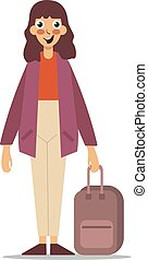 Woman with a suitcase on white background.