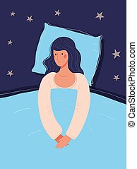 The girl lies in bed and cannot sleep. Concept illustration about insomnia, psychological health. Flat vector illustration, woman nightmares.