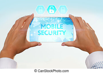 The girl looks at a virtual screen of your smartphone. Text mobile security.