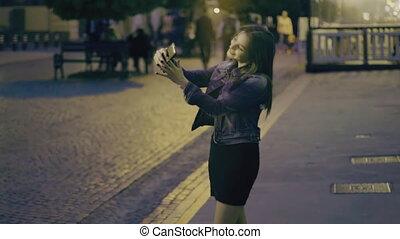 The girl makes selfie