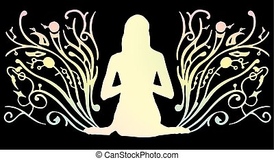 The girl meditates on a beautiful background