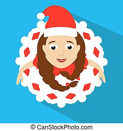 the girl Mrs. Santa Claus in a red cap. the top view, looks up.  skirt in  look  snowflake. Dance, dances. On  blue background. To use for the press, design, t-shirts, the websites.