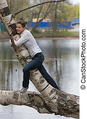 the girl on a birch