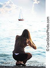 The girl on a coast