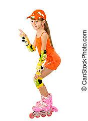 The girl on roller skates - The girl in an orange suit on ...