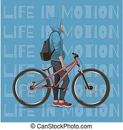The girl on the mtb bike.