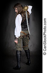The girl - pirate with eye patch - The girl - pirate with a...