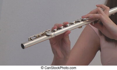 The girl plays the flute. Wind instruments