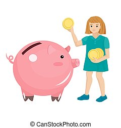 The girl puts coins in the piggy bank pig. Vector isolated characters on white background.