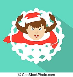 The GIRL SANTA CLAUS looks up. a skirt in  form  snowflake. against the background of green. to use for the press, an undershirt,  t-shirt. illustration vector  Eps 10
