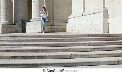 The girl seeing the sights of Lisbon - The girl tourist with...