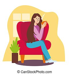 The girl sits in red chair and drinks tea. Living room, house, room with a houseplant, behind window, the concept of comfort, safety, rest and relaxation with mug of tea or coffee