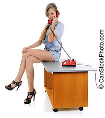 The girl, talking on phone