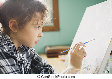 the girl that paints with a brush on canvas