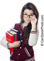 The girl the student with books in hands