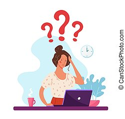The girl thinks, the woman works at the computer, question marks. Concept illustration about the complexities of learning, problems at work. Flat vector illustration.