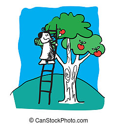 The girl tree in a garden. Vector