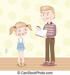 The girl was blamed for poor homework. Vector.