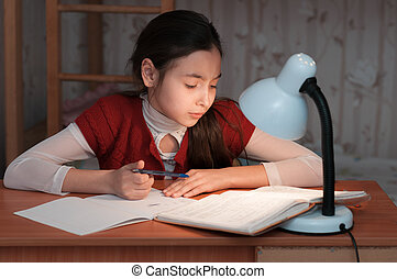 girl was very tired to do homework