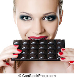 The girl with a chocolate bar
