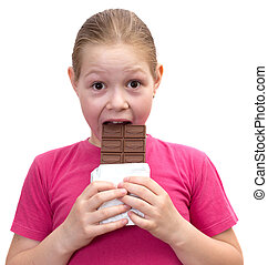 The girl with a chocolate