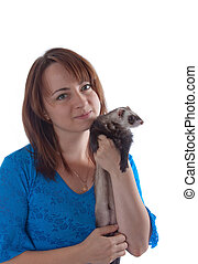 The girl with a domestic polecat