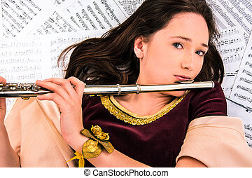 the girl with a flute and notes