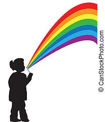The girl with a rainbow