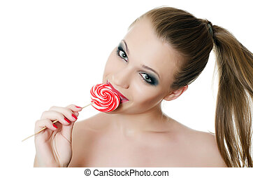 The girl with a sugar candy