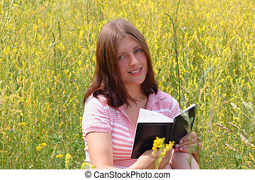 The girl with book
