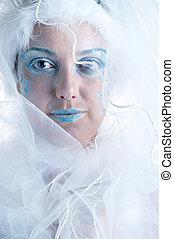 girl with creative winter makeup