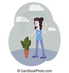 The girl with dark hair in blue watering a plant. Vector cartoon illustration. Character