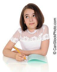 The girl with pencil and writing-book
