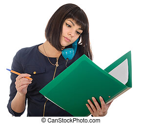 The girl with phone and reads documents.